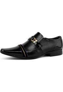 Sapato Social Em Couro Bico Fino Sapatofran Preto/Dourado