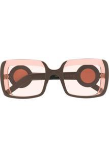 Marni Eyewear Óculos De Sol Quadrado - Marrom