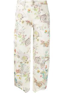Lanvin Calça Jeans Cropped Com Estampa Botânica - Neutro