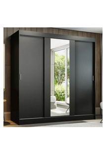 Guarda-Roupa Casal Madesa Reno 3 Portas De Correr Com Espelho Preto