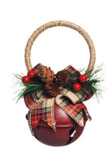 Enfeite Natal Decorativa Guizo Vermelho Pinhas E Cereja 16Cm