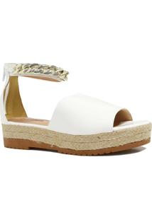 Sandália Zariff Shoes Plataforma Metais Branco
