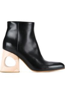 Marni Ankle Boot De Couro Com Recorte No Salto - Preto