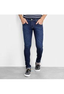 Calça Jeans Skinny Coffee Lavagem Escura Masculina - Masculino-Jeans