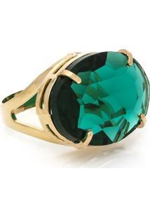 Anel Cristallo Cristal Oval - Feminino-Verde Escuro