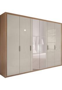 Guarda-Roupa Casal Com Espelho Stillus 6 Pt 6 Gv Carvallho E Off White