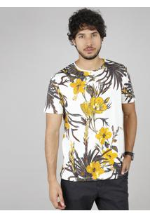 Camiseta Masculina Comfort Fit Estampada Floral Manga Curta Gola Careca Off White