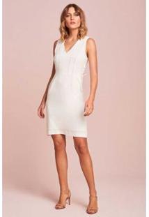 Vestido Rubinella Ziper Costas Amarração Lateral - Feminino-Off White