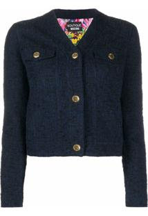 Boutique Moschino Jaqueta Gola V De Tweed - Azul
