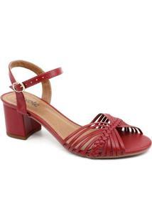 Sandália Salto Naturali - Feminino-Vermelho