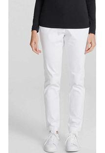 Calça Básica Feminina Chino Com Elastano Branco