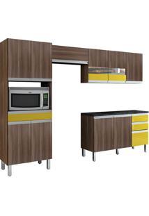 Cozinha Compacta Turmalina 11 Pt 3 Gv Mocaccino Com Amarelo