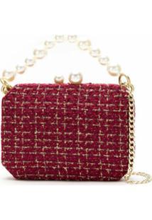 Isla Bolsa Clutch Tweed Com Pérolas - Vermelho
