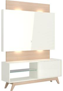 Rack Com Painel Munique 1,40 Mt Com Led Cor Off White Com Natural - 51619 - Sun House