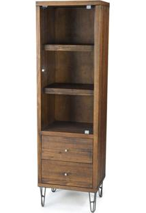 Cristaleira Shed 1 Porta Rustic Brown Base Grafite 1,88 Mt (Alt) - 44636 - Sun House