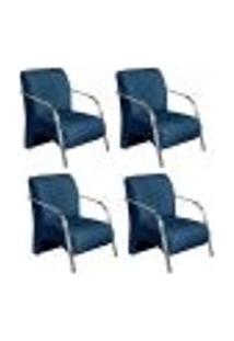 Conjunto De 4 Poltronas Sevilha Decorativa Braço Alumínio Cadeira Para Recepção, Sala Estar Tv Espera, Escritório - Linho Azul