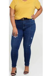 Calça Jeans Skinny Feminina Puídos Plus Size