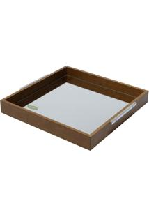 Bandeja De Madeira Com Espelho Naturals 35X35X4,5Cm - Unissex