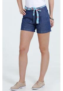 Bermuda Feminina Jeans Cinto Marisa