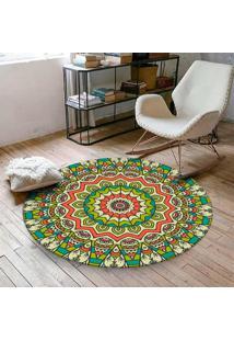 Tapete Redondo Wevans Mandala Verde 84Cm - Multicolorido - Dafiti