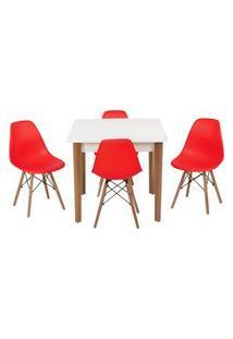 Conjunto Mesa De Jantar Luiza 80Cm Branca Com 4 Cadeiras Eames Eiffel - Vermelho