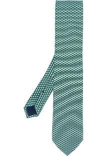 Salvatore Ferragamo Gravata Com Animal Print - Verde