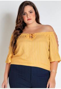 Blusa Plus Size Amarela Listrada Ciganinha