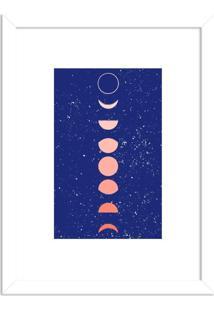 Quadro Decorativo Fases Da Lua Azul Branco - Médio