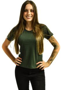 Camiseta Nakia Baby Look Gola Careca Básica Feminina Lisa Manga Curta Verde Escuro