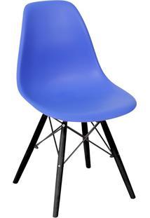 Cadeira Com Base Escura Eames 1102-Or Design - Azul Marinho