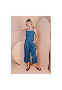 Macacão Sisal Jeans Pantacourt De Alças Azul Escuro