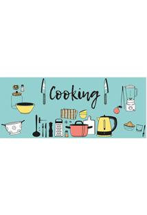 "Tapete Transfer ""Cooking""- Azul & Amarelo- 90X40Cm"