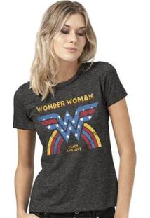 Camiseta Bandup Wonder Woman Peace And Love - Feminino-Mescla Escuro