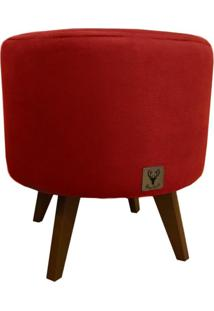Puff Pã© Palito Redondo Alce Couch Veludo Vermelho 40Cm - Vermelho - Dafiti