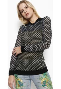 Blusa Em Tricô Maquinetado - Preta & Amarela - Versaversace