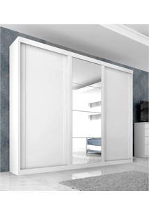 Guarda Roupa Casal Sevilha Mdp 3 Portas Correr 6 Gavetas Branco Com Espelho