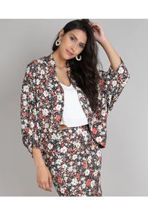 Kimono Feminino Amplo Estampado Floral Preto