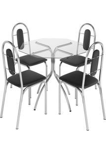 Conjunto De Mesa Com 4 Cadeiras Estrela Aço Cromado