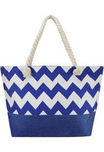 Bolsa De Praia- Azul & Azul Claro- 34X45X13Cm- Jjacki Design