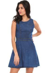 02c46fc780 ... Vestido Jeans Lunender Curto Pespontos Azul