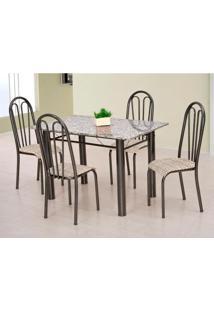 Conjunto De Mesa Carla Com 4 Cadeiras Craqueado Preto Rattan