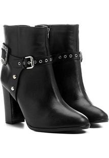 Bota Couro Shoestock Cano Curto Salto Alto Detalhe Selaria Feminina - Feminino-Preto