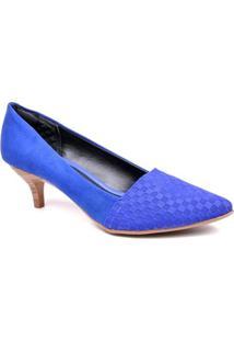 Scarpin Azaléia Jacquard - Feminino-Azul