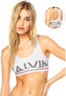 Sutiã Calvin Klein Underwear Top Nadador Logo Branco