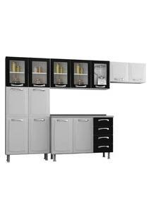Cozinha Compacta Itatiaia Premium 13 Portas 4 Gavetas Branca/Preta