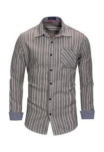 Camisa Masculina Com Listras Verticais Manga Longa - Cinza