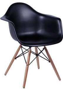 Cadeira Eames Eiffel Com Braço Preta Base Madeira