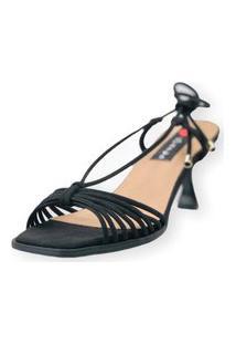 Sandalia Salto Taça Love Shoes Tirinhas Delicadas Preto