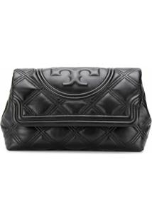 Tory Burch Clutch Matelassê Fleming - Preto