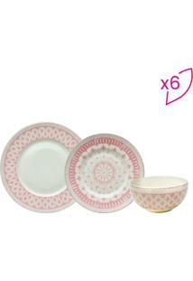 Aparelho De Jantar Abstrato- Branco & Rosa Claro- 18Full Fit